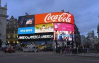 """Alfredo Jaar's """"A Logo for America"""" in Piccadilly Circus"""
